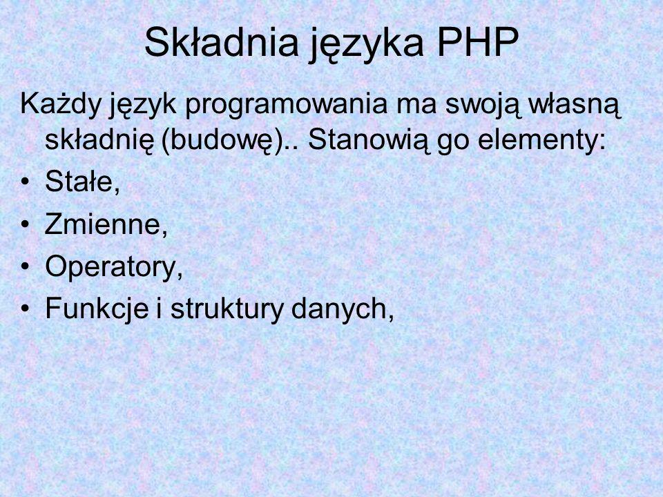 Składnia języka PHP Każdy język programowania ma swoją własną składnię (budowę).. Stanowią go elementy: Stałe, Zmienne, Operatory, Funkcje i struktury