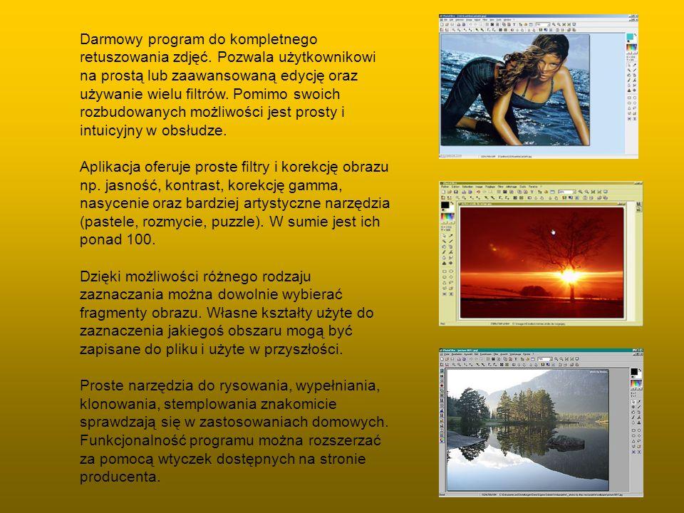 Darmowy program do kompletnego retuszowania zdjęć. Pozwala użytkownikowi na prostą lub zaawansowaną edycję oraz używanie wielu filtrów. Pomimo swoich