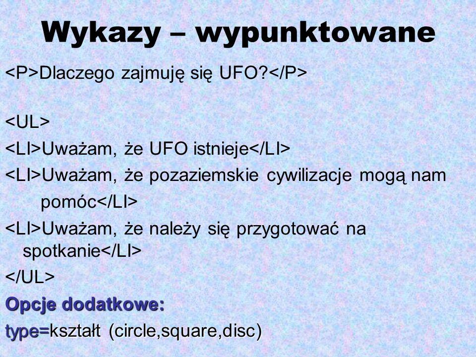 Wykazy – wypunktowane Dlaczego zajmuję się UFO? Uważam, że UFO istnieje Uważam, że pozaziemskie cywilizacje mogą nam pomóc Uważam, że należy się przyg
