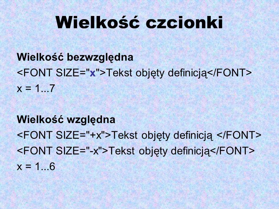 Wielkość czcionki Wielkość bezwzględna Tekst objęty definicją x = 1...7 Wielkość względna Tekst objęty definicją x = 1...6