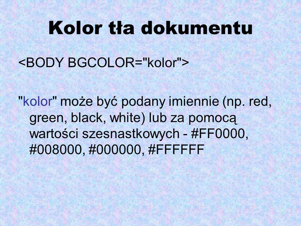 Kolor tła dokumentu