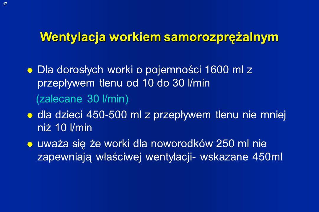 17 Wentylacja workiem samorozprężalnym l Dla dorosłych worki o pojemności 1600 ml z przepływem tlenu od 10 do 30 l/min (zalecane 30 l/min) l dla dziec
