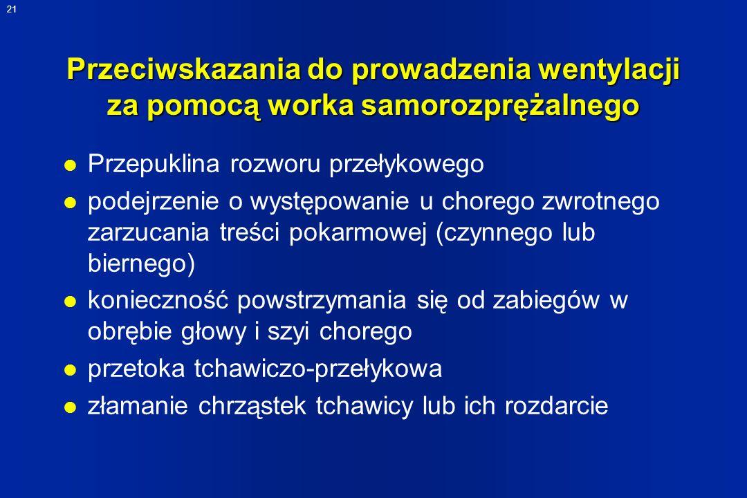 21 Przeciwskazania do prowadzenia wentylacji za pomocą worka samorozprężalnego l Przepuklina rozworu przełykowego l podejrzenie o występowanie u chore