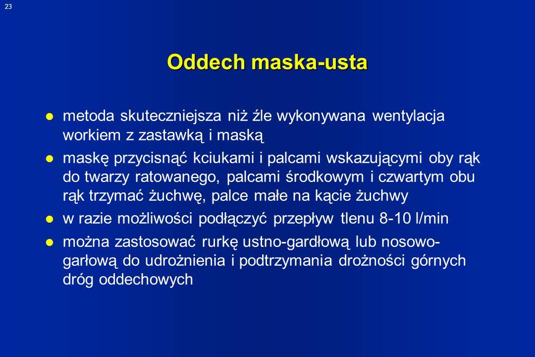 23 Oddech maska-usta l metoda skuteczniejsza niż źle wykonywana wentylacja workiem z zastawką i maską l maskę przycisnąć kciukami i palcami wskazujący