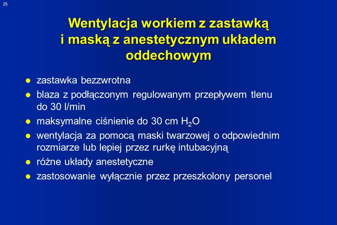 25 Wentylacja workiem z zastawką i maską z anestetycznym układem oddechowym l zastawka bezzwrotna l blaza z podłączonym regulowanym przepływem tlenu d