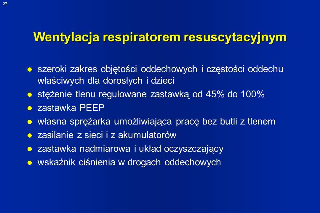 27 Wentylacja respiratorem resuscytacyjnym l szeroki zakres objętości oddechowych i częstości oddechu właściwych dla dorosłych i dzieci l stężenie tle