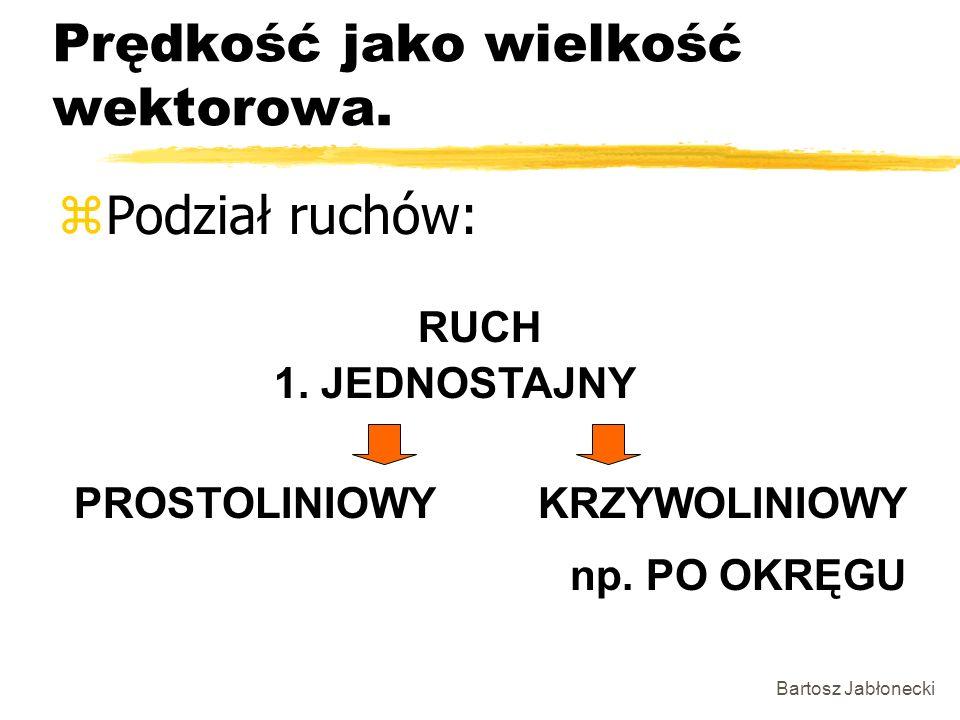 Bartosz Jabłonecki Prędkość jako wielkość wektorowa. zPodział ruchów: RUCH 1. JEDNOSTAJNY PROSTOLINIOWYKRZYWOLINIOWY np. PO OKRĘGU