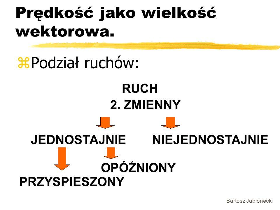 Bartosz Jabłonecki Prędkość jako wielkość wektorowa. zPodział ruchów: JEDNOSTAJNIENIEJEDNOSTAJNIE 2. ZMIENNY RUCH PRZYSPIESZONY OPÓŹNIONY