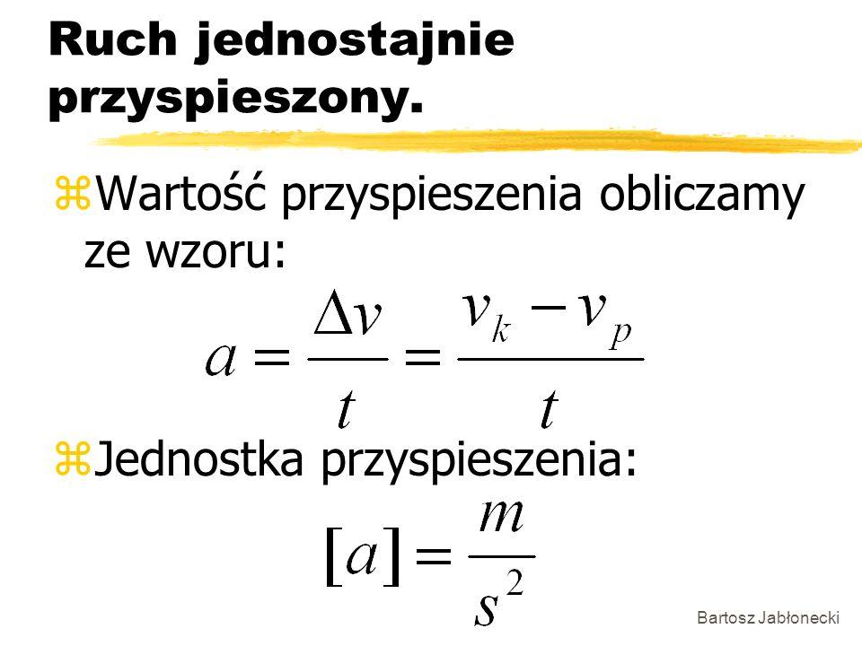 Bartosz Jabłonecki Ruch jednostajnie przyspieszony. zWartość przyspieszenia obliczamy ze wzoru: zJednostka przyspieszenia: