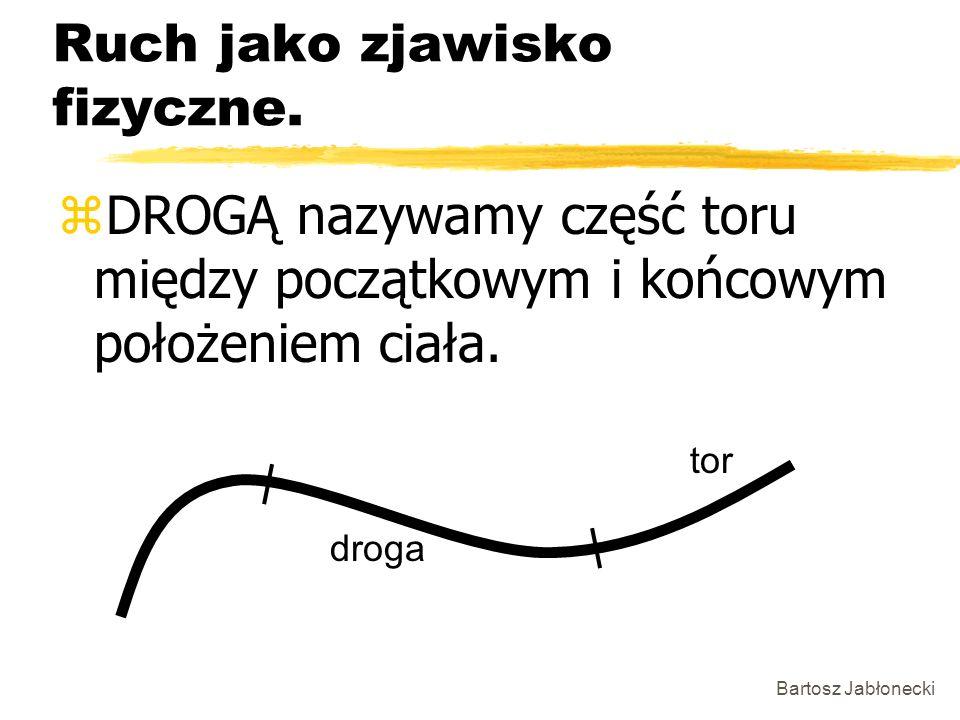 Bartosz Jabłonecki Ruch jako zjawisko fizyczne. zDROGĄ nazywamy część toru między początkowym i końcowym położeniem ciała. tor droga