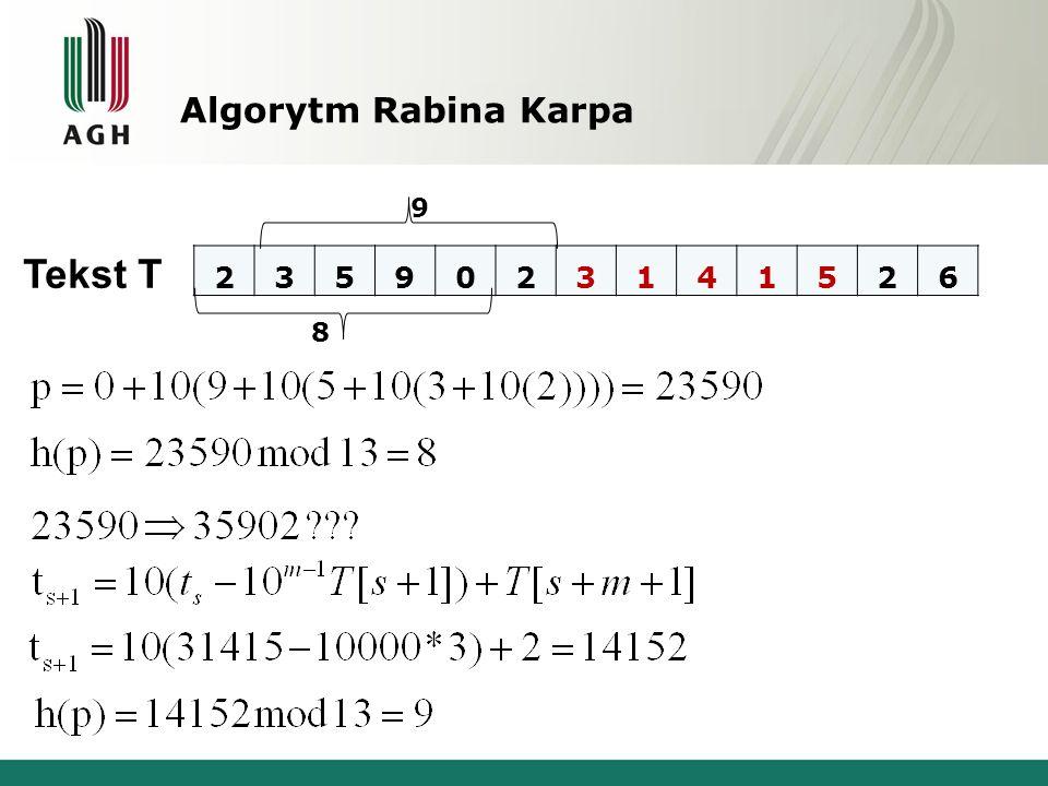 Algorytm Rabina Karpa Tekst T 2359023141526 9 8
