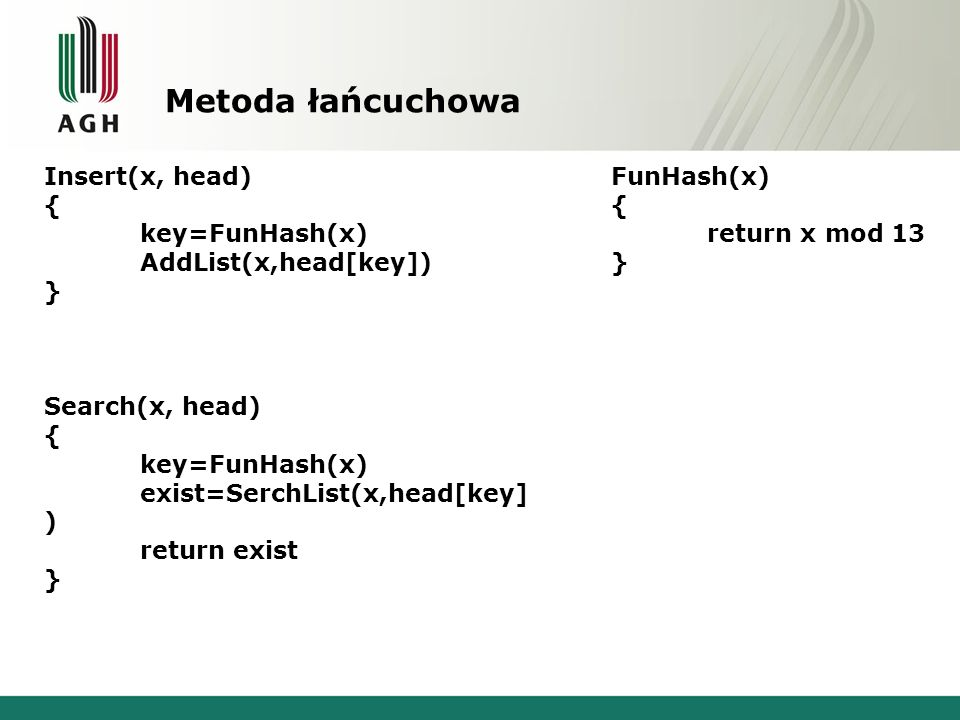 Metoda łańcuchowa Insert(x, head) { key=FunHash(x) AddList(x,head[key]) } Search(x, head) { key=FunHash(x) exist=SerchList(x,head[key] ) return exist
