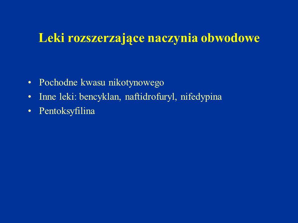 Leki rozszerzające naczynia obwodowe Pochodne kwasu nikotynowego Inne leki: bencyklan, naftidrofuryl, nifedypina Pentoksyfilina