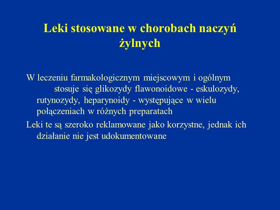 Leki stosowane w chorobach naczyń żylnych W leczeniu farmakologicznym miejscowym i ogólnym stosuje się glikozydy flawonoidowe - eskulozydy, rutynozydy