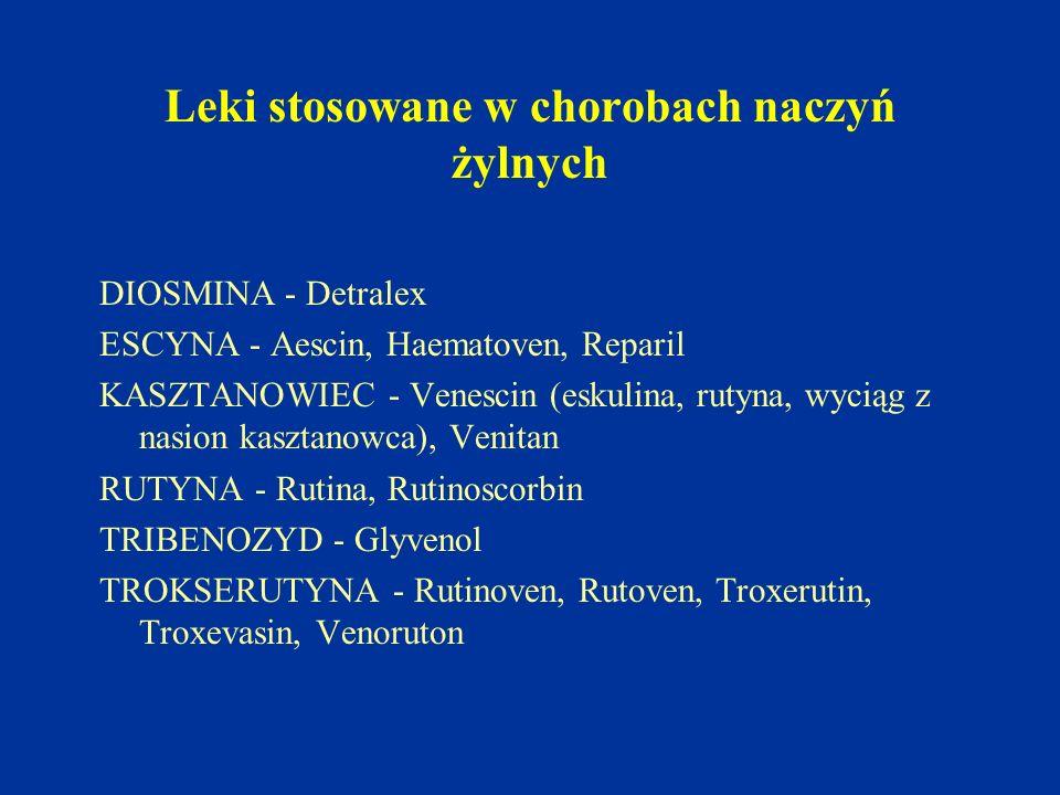 Leki stosowane w chorobach naczyń żylnych DIOSMINA - Detralex ESCYNA - Aescin, Haematoven, Reparil KASZTANOWIEC - Venescin (eskulina, rutyna, wyciąg z