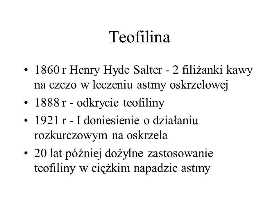 Teofilina 1860 r Henry Hyde Salter - 2 filiżanki kawy na czczo w leczeniu astmy oskrzelowej 1888 r - odkrycie teofiliny 1921 r - I doniesienie o dział
