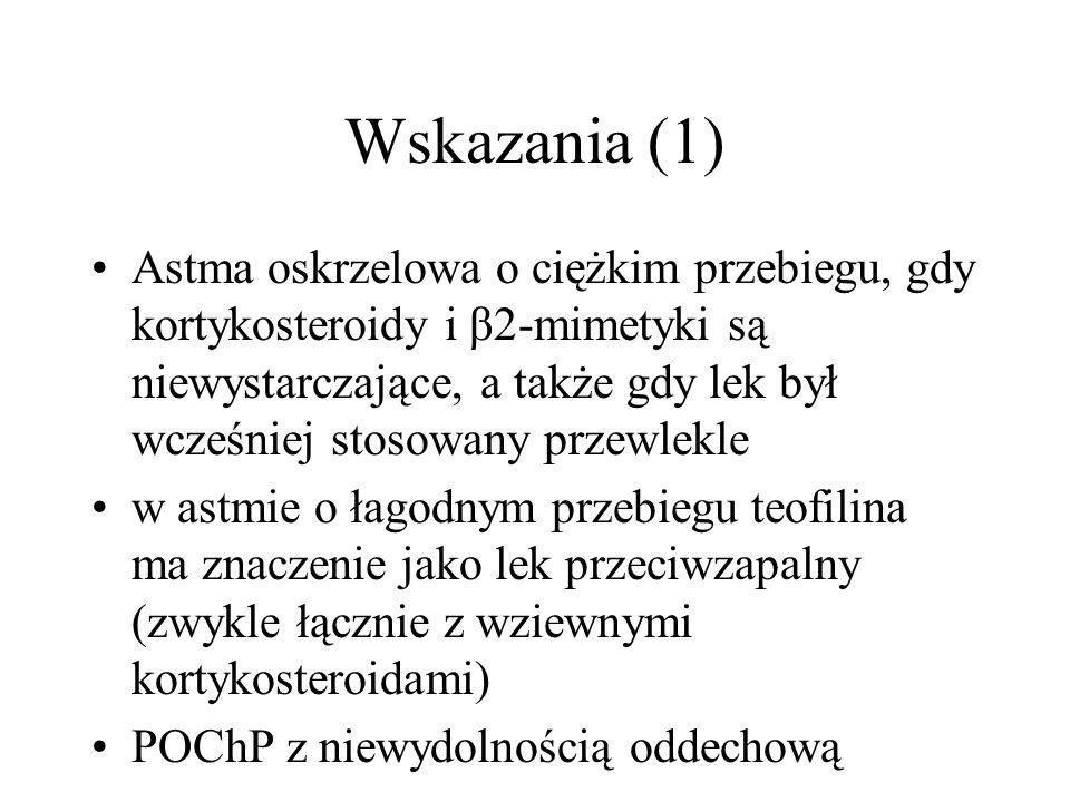 Wskazania (1) Astma oskrzelowa o ciężkim przebiegu, gdy kortykosteroidy i β2-mimetyki są niewystarczające, a także gdy lek był wcześniej stosowany prz
