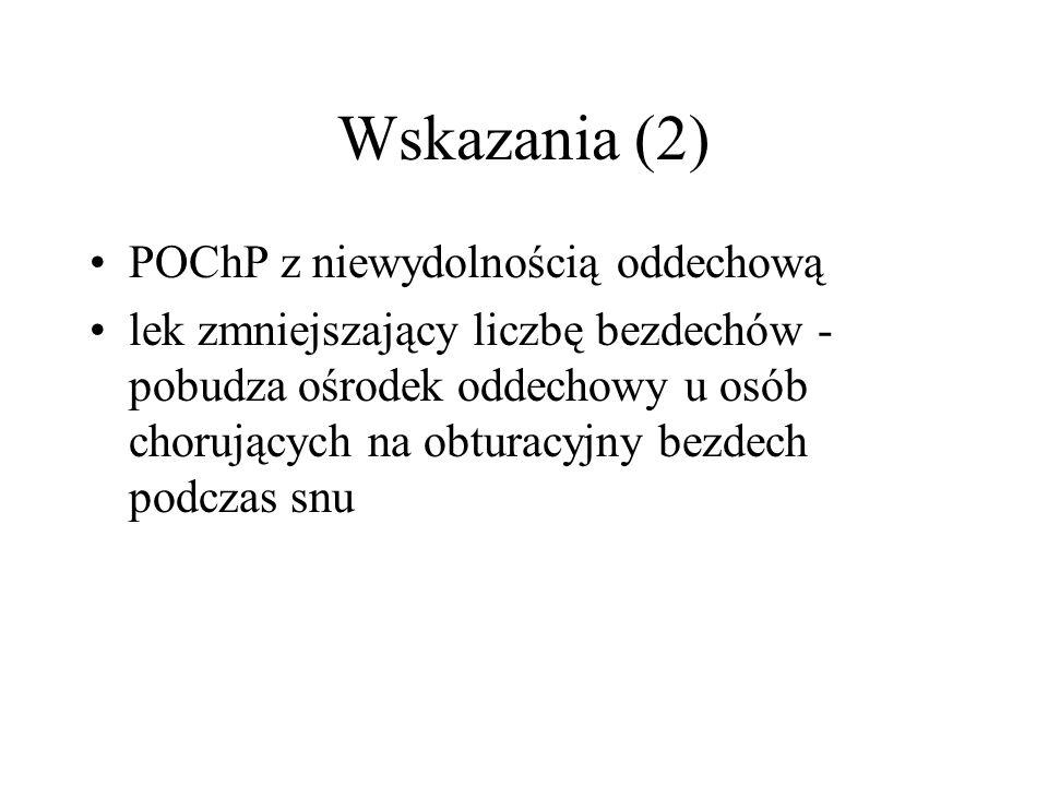 Wskazania (2) POChP z niewydolnością oddechową lek zmniejszający liczbę bezdechów - pobudza ośrodek oddechowy u osób chorujących na obturacyjny bezdec