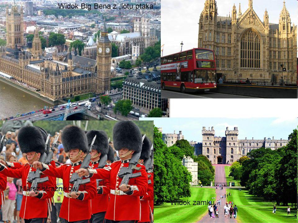 Wieża zegarowa Big Ben w Londynie. Popularne czerwone autobusy piętrowe. London eye