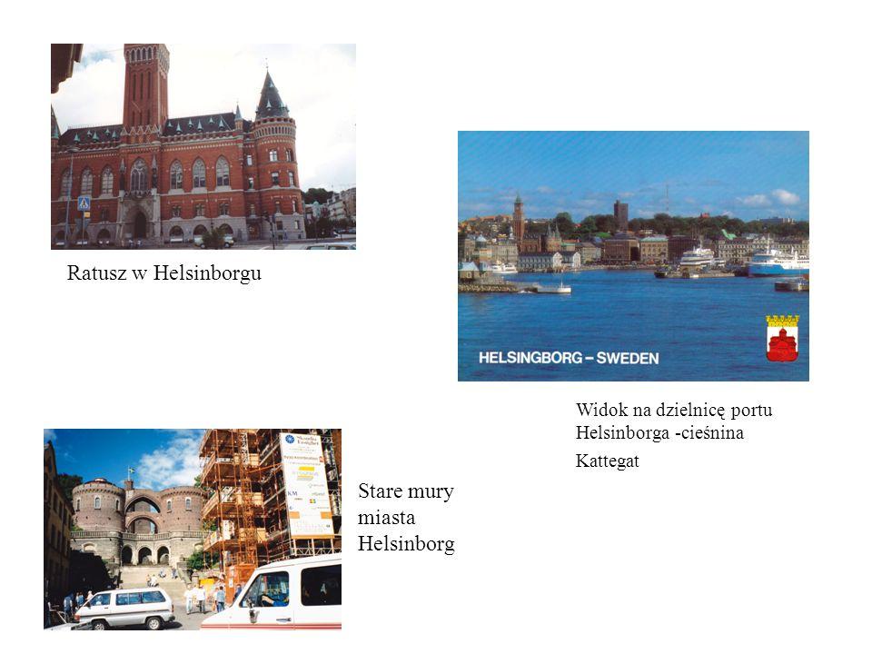 Ratusz w Helsinborgu Stare mury miasta Helsinborg Widok na dzielnicę portu Helsinborga -cieśnina Kattegat