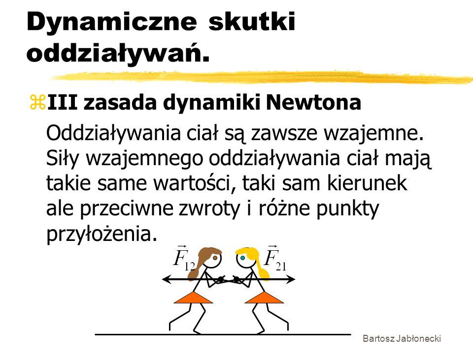 Bartosz Jabłonecki Dynamiczne skutki oddziaływań. zIII zasada dynamiki Newtona Oddziaływania ciał są zawsze wzajemne. Siły wzajemnego oddziaływania ci