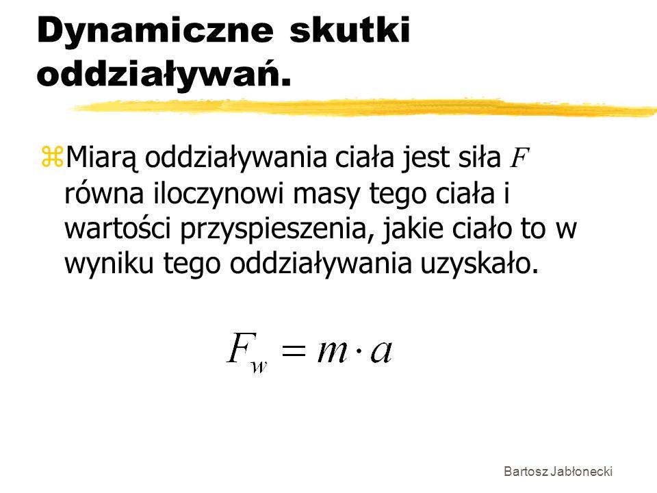 Bartosz Jabłonecki Dynamiczne skutki oddziaływań. Miarą oddziaływania ciała jest siła F równa iloczynowi masy tego ciała i wartości przyspieszenia, ja