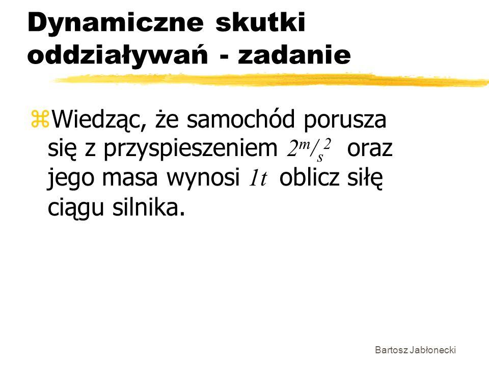 Bartosz Jabłonecki Dynamiczne skutki oddziaływań - zadanie Wiedząc, że samochód porusza się z przyspieszeniem 2 m / s 2 oraz jego masa wynosi 1t oblic