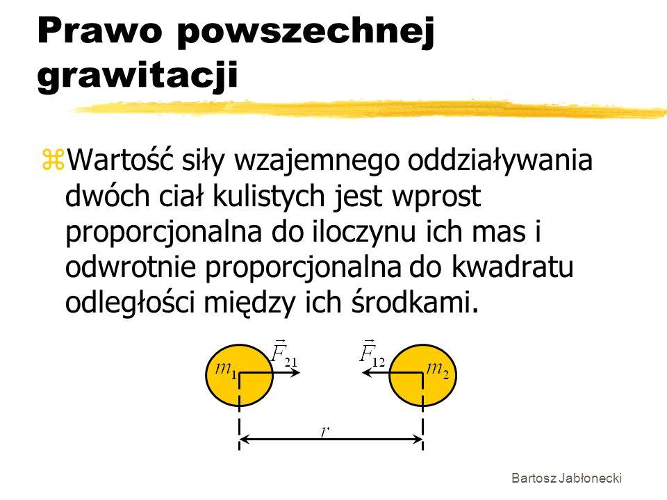 Bartosz Jabłonecki Prawo powszechnej grawitacji zWartość siły wzajemnego oddziaływania dwóch ciał kulistych jest wprost proporcjonalna do iloczynu ich
