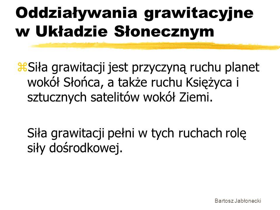 Bartosz Jabłonecki Oddziaływania grawitacyjne w Układzie Słonecznym zSiła grawitacji jest przyczyną ruchu planet wokół Słońca, a także ruchu Księżyca
