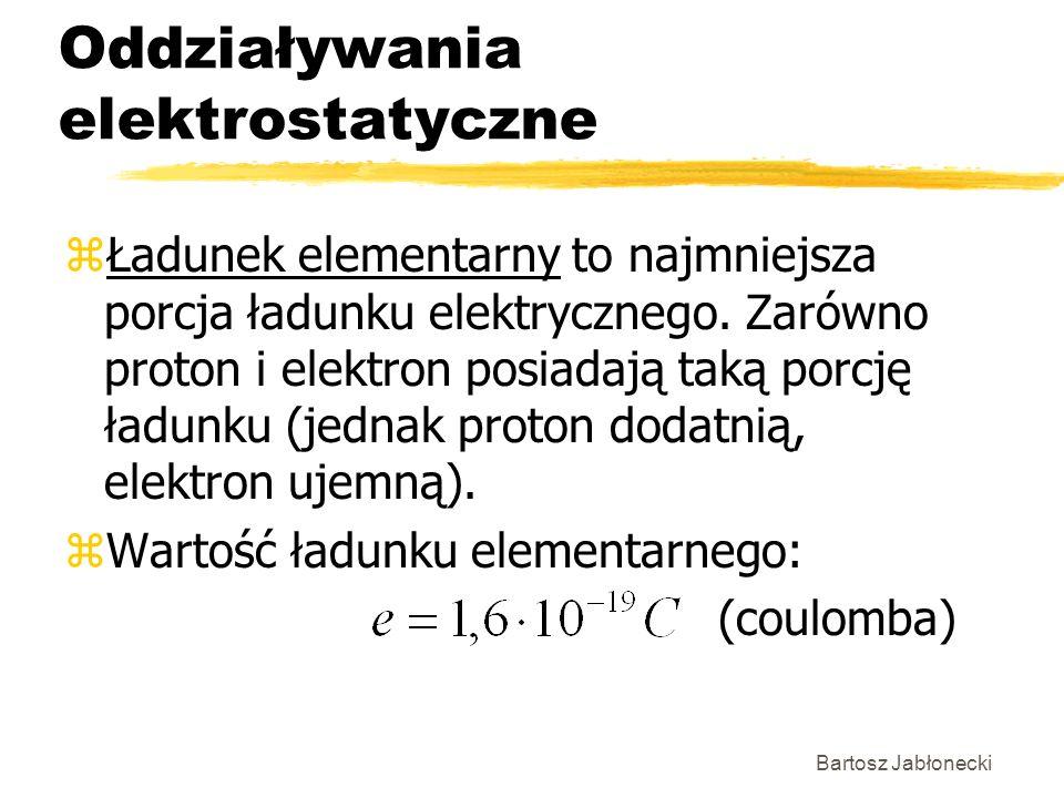 Bartosz Jabłonecki Oddziaływania elektrostatyczne zŁadunek elementarny to najmniejsza porcja ładunku elektrycznego. Zarówno proton i elektron posiadaj