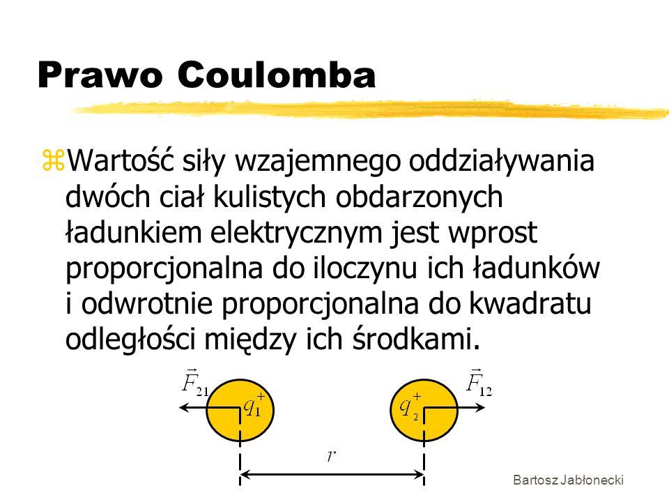 Bartosz Jabłonecki Prawo Coulomba zWartość siły wzajemnego oddziaływania dwóch ciał kulistych obdarzonych ładunkiem elektrycznym jest wprost proporcjo