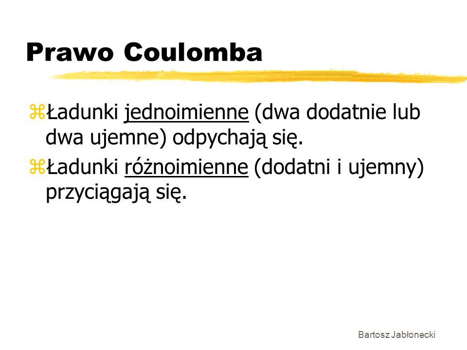 Bartosz Jabłonecki Prawo Coulomba zŁadunki jednoimienne (dwa dodatnie lub dwa ujemne) odpychają się. zŁadunki różnoimienne (dodatni i ujemny) przyciąg