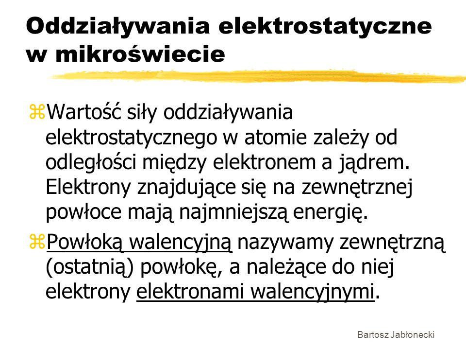 Bartosz Jabłonecki Oddziaływania elektrostatyczne w mikroświecie zWartość siły oddziaływania elektrostatycznego w atomie zależy od odległości między e