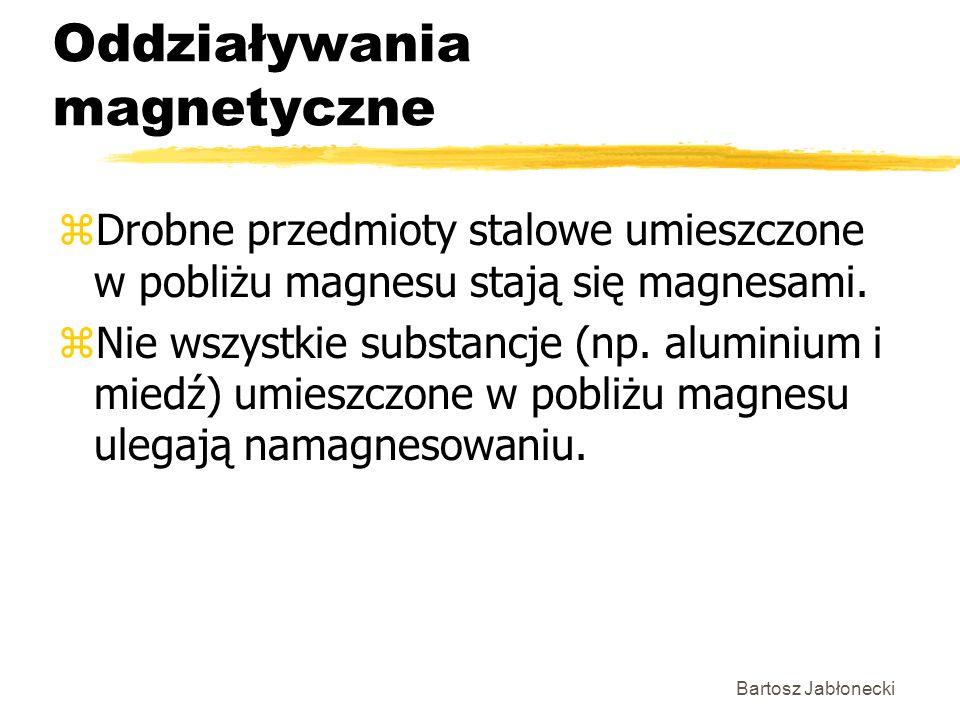Bartosz Jabłonecki Oddziaływania magnetyczne zDrobne przedmioty stalowe umieszczone w pobliżu magnesu stają się magnesami. zNie wszystkie substancje (