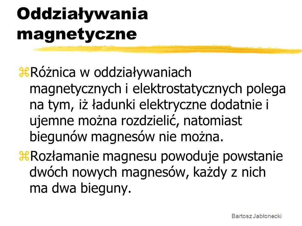 Bartosz Jabłonecki Oddziaływania magnetyczne zRóżnica w oddziaływaniach magnetycznych i elektrostatycznych polega na tym, iż ładunki elektryczne dodat