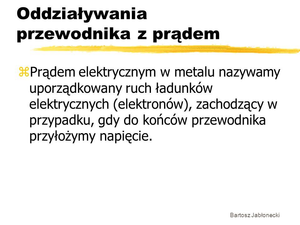 Bartosz Jabłonecki Oddziaływania przewodnika z prądem zPrądem elektrycznym w metalu nazywamy uporządkowany ruch ładunków elektrycznych (elektronów), z