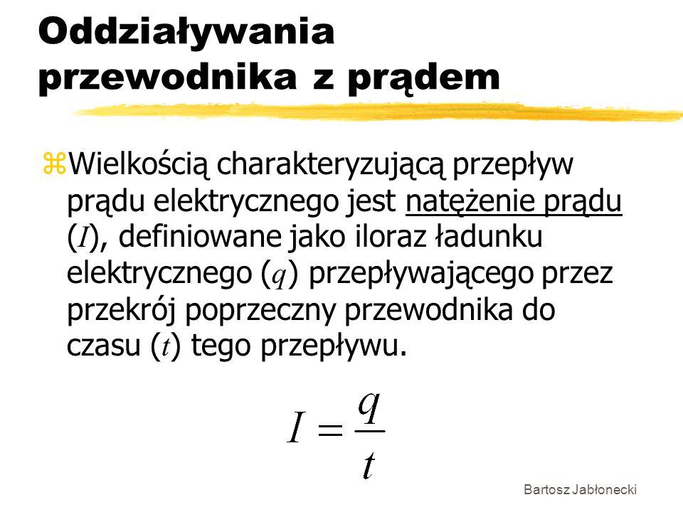 Bartosz Jabłonecki Oddziaływania przewodnika z prądem Wielkością charakteryzującą przepływ prądu elektrycznego jest natężenie prądu ( I ), definiowane