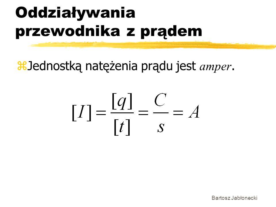 Bartosz Jabłonecki Oddziaływania przewodnika z prądem Jednostką natężenia prądu jest amper.