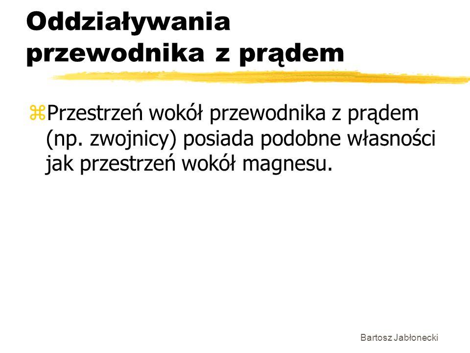 Bartosz Jabłonecki Oddziaływania przewodnika z prądem zPrzestrzeń wokół przewodnika z prądem (np. zwojnicy) posiada podobne własności jak przestrzeń w