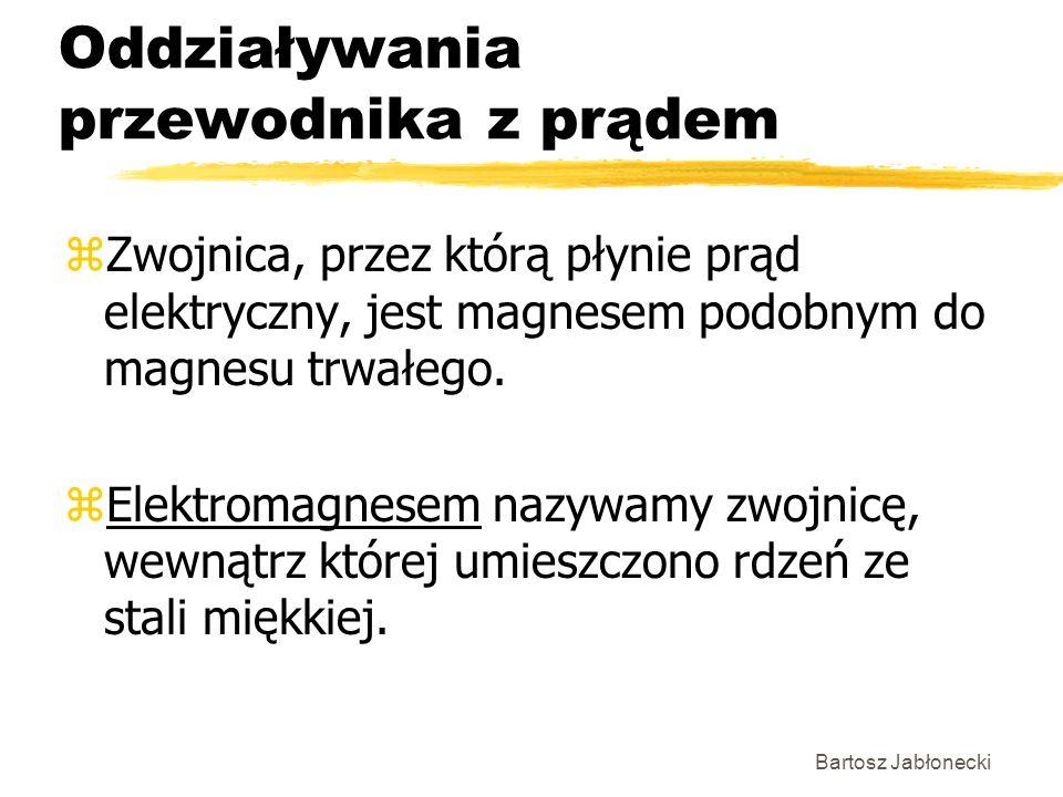 Bartosz Jabłonecki Oddziaływania przewodnika z prądem zZwojnica, przez którą płynie prąd elektryczny, jest magnesem podobnym do magnesu trwałego. zEle