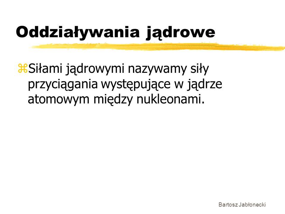 Bartosz Jabłonecki Oddziaływania jądrowe zSiłami jądrowymi nazywamy siły przyciągania występujące w jądrze atomowym między nukleonami.