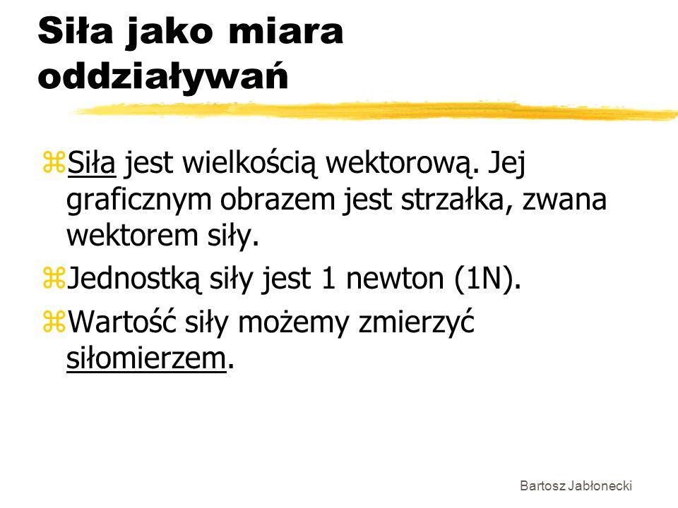 Bartosz Jabłonecki Siła jako miara oddziaływań zSiła jest wielkością wektorową. Jej graficznym obrazem jest strzałka, zwana wektorem siły. zJednostką