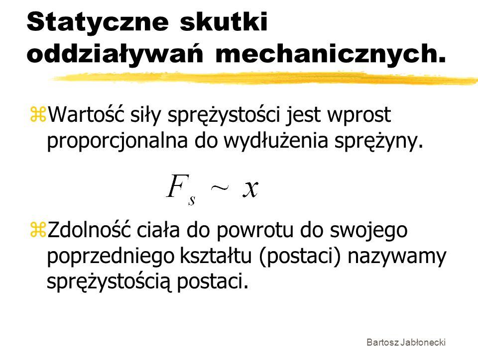 Bartosz Jabłonecki Statyczne skutki oddziaływań mechanicznych. zWartość siły sprężystości jest wprost proporcjonalna do wydłużenia sprężyny. zZdolność