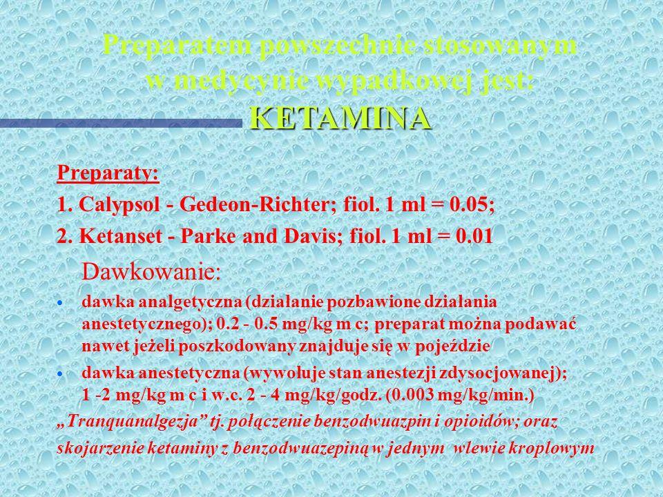 Sedacja - środki znieczulenia ogólnego dożylnego * * Barbiturany: Metohexital (Brietal-Lilly); filo. Po 0.5; przygotowanie: dodaje się 50 ml wody dest