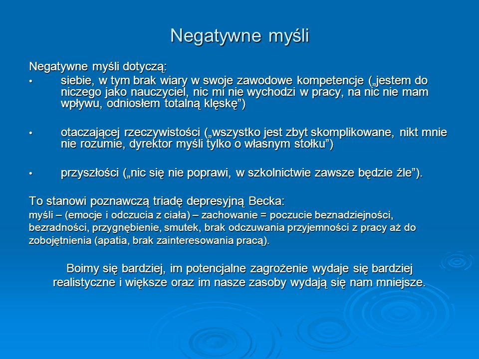 Negatywne myśli Negatywne myśli dotyczą: siebie, w tym brak wiary w swoje zawodowe kompetencje (jestem do niczego jako nauczyciel, nic mi nie wychodzi