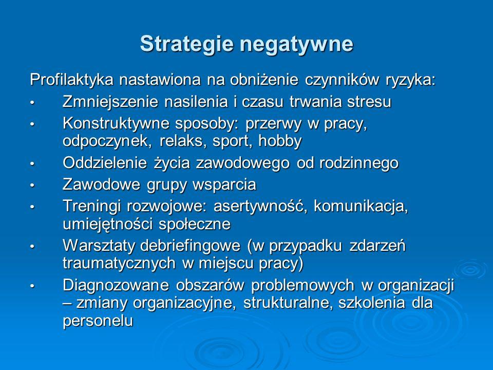 Strategie negatywne Profilaktyka nastawiona na obniżenie czynników ryzyka: Zmniejszenie nasilenia i czasu trwania stresu Zmniejszenie nasilenia i czas