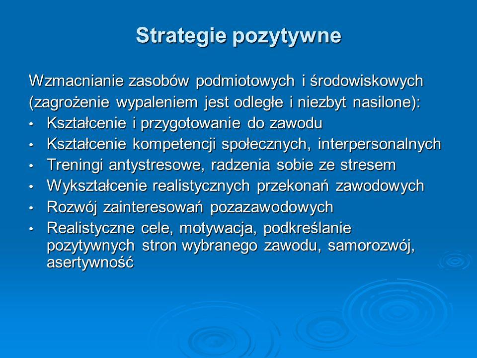 Strategie pozytywne Wzmacnianie zasobów podmiotowych i środowiskowych (zagrożenie wypaleniem jest odległe i niezbyt nasilone): Kształcenie i przygotow