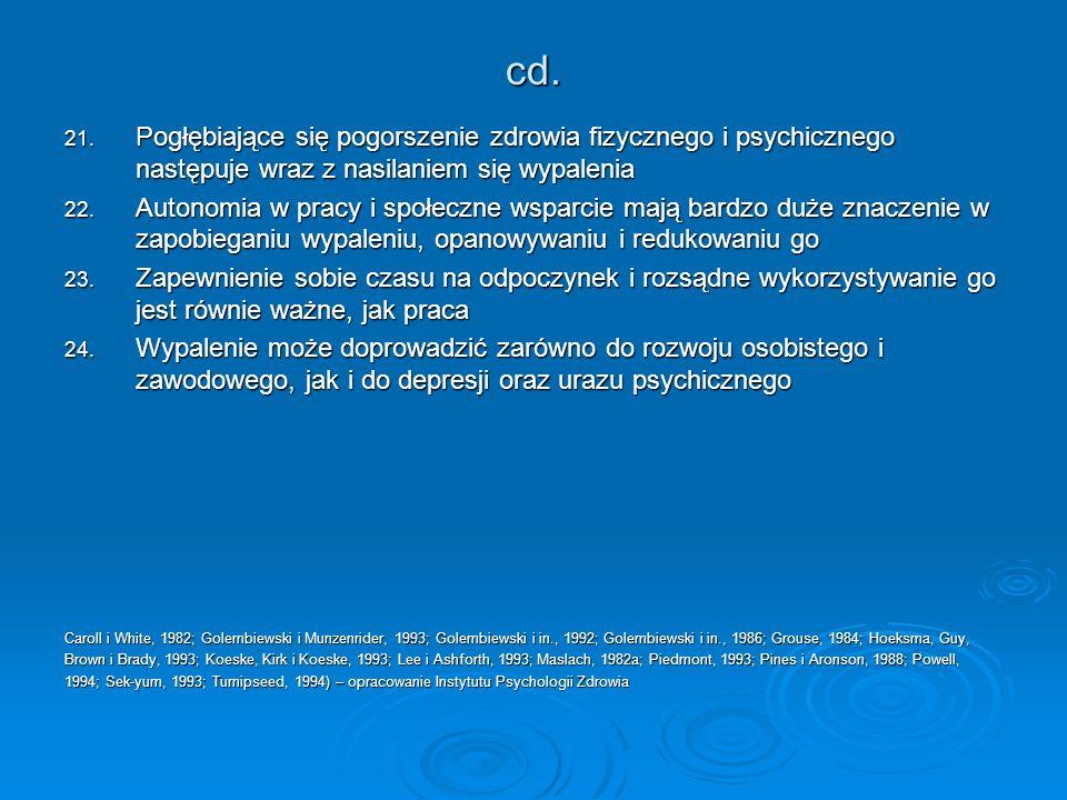 cd. 21. Pogłębiające się pogorszenie zdrowia fizycznego i psychicznego następuje wraz z nasilaniem się wypalenia 22. Autonomia w pracy i społeczne wsp