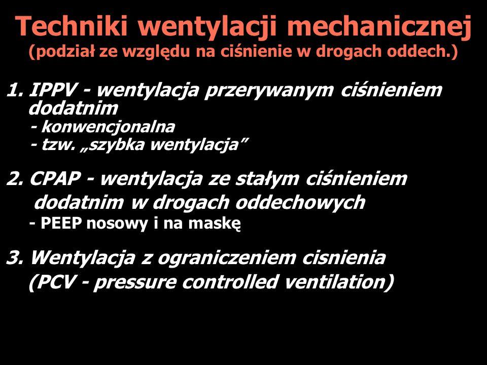 Techniki wentylacji mechanicznej (podział ze względu na ciśnienie w drogach oddech.) 1.