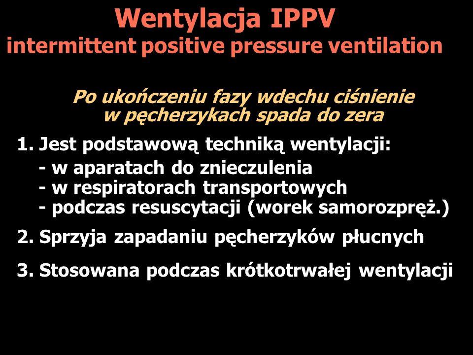 Wentylacja IPPV intermittent positive pressure ventilation Po ukończeniu fazy wdechu ciśnienie w pęcherzykach spada do zera 1. Jest podstawową technik